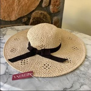 Merona Weave Floppy Tan With Black Bow Hat